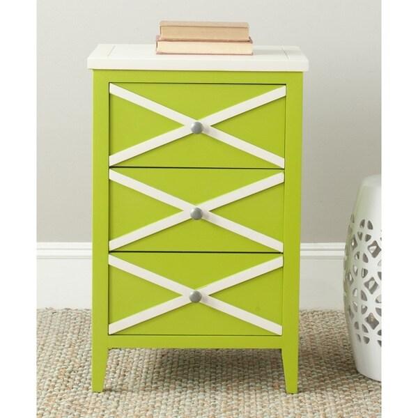 Safavieh Sherrilyn Lime Green/ Cream Storage 3-drawer Side Table