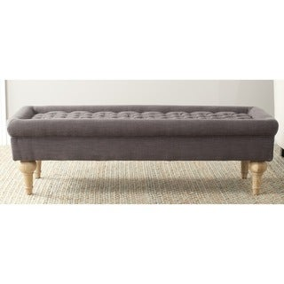 Safavieh Thadius Charcoal Brown Linen Blend Cocktail Ottoman