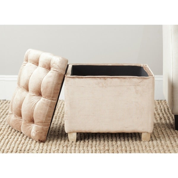 Safavieh Joanie Mink Brown Storage Linen Blend Ottoman