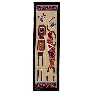 Hand-painted Cream 'African Lady and Warrior' Tapestry (Zambia)