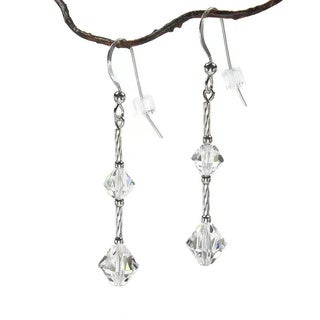 Jewelry by Dawn Single Twist Crystal Moonlight Sterling Silver Earrings