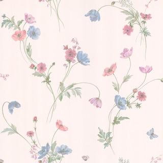 Brewster Violet Butterfly Floral Trail Wallpaper