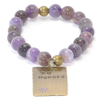 Handmade and Hand-Stamped Purple Agate Stretch Bracelet