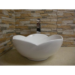 White Ceramic Chinaware Vessel Sink