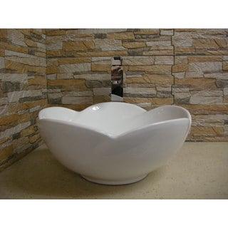 White Ceramic Chinaware Vessel Sink