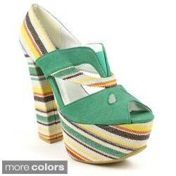 Fahrenheit Women's 'Anne-29' Multi-colored Stripe Chunky Heels