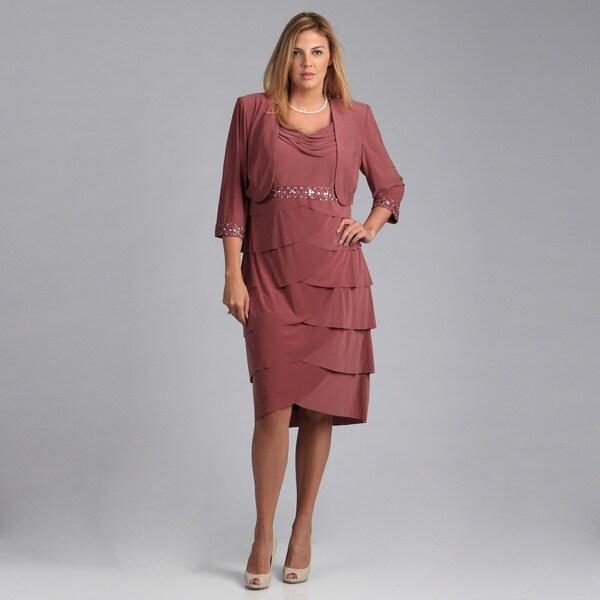 Alex Evenings Plus Size 2-piece Bolero Short Artichoke Skirt Jacket Dress