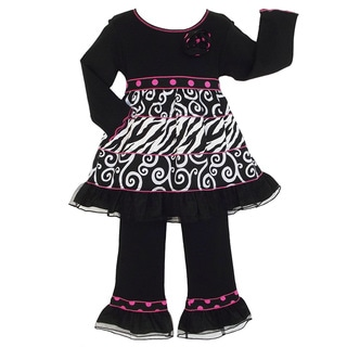 AnnLoren Girls Swirl and Zebra Print Long Sleeve Dress/ Pant Set