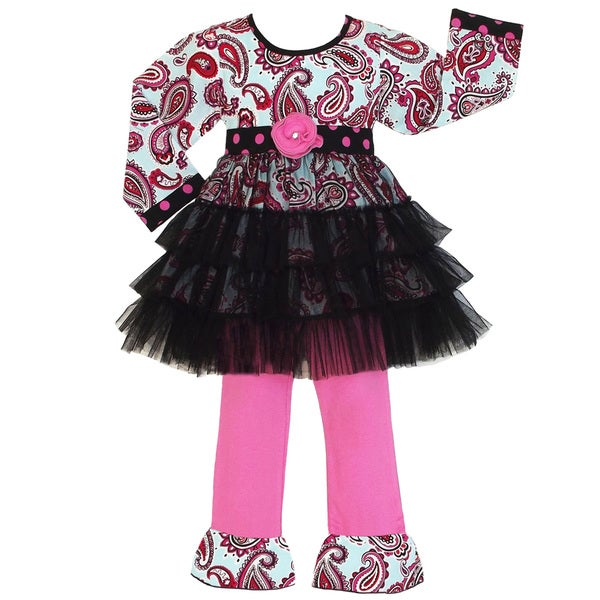 AnnLoren Girls Paisley Ruffled Tunic Dress and Pant Set