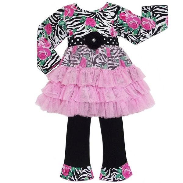 AnnLoren Girls Zebra Rose Tunic Dress and Pant Set