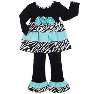AnnLoren Girls Blue Rose and Zebra Print Tunic and Pant Set