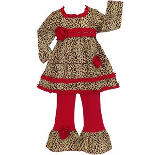 AnnLoren Girls Leopard Tunic and Red Pants Set
