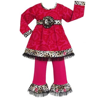 AnnLoren Girls Pink/ Leopard Rose Tunic and Pant Set