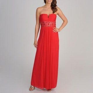 Betsy & Adam Women's Strapless Chiffon Gown