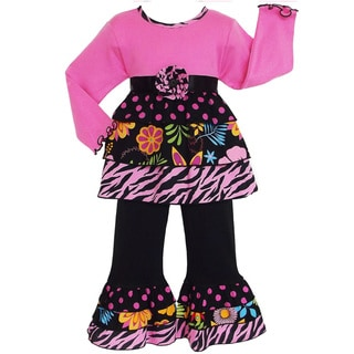 AnnLoren Girls Pink Safari Print Rumba Tunic and Pant Set