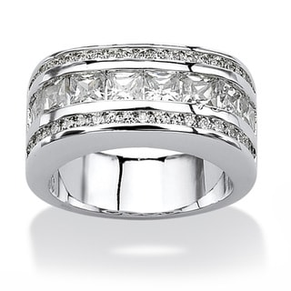 Ultimate CZ Platinum over Silver Cubic Zirconia Band-style Ring