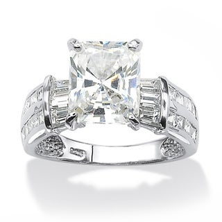 Ultimate CZ Platinum over Silver Emerald-cut Cubic Zirconia Ring