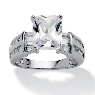 PalmBeach 5.04 TCW Emerald-Cut Cubic Zirconia Platinum over Sterling Silver Engagement Anniversary Ring Glam CZ