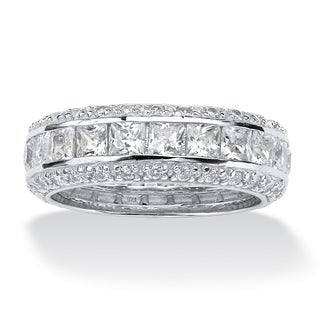 Ultimate CZ Platinum over Silver Cubic Zirconia Eternity Band