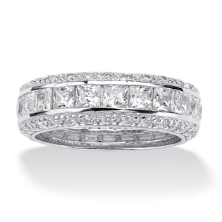 PalmBeach 4.17 TCW Princess-Cut CZ Eternity Ring in Platinum over .925 Sterling Silver Classic CZ