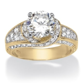 PalmBeach 3.51 TCW Round Cubic Zirconia 18k Yellow Gold over Sterling Silver Wedding Band Glam CZ
