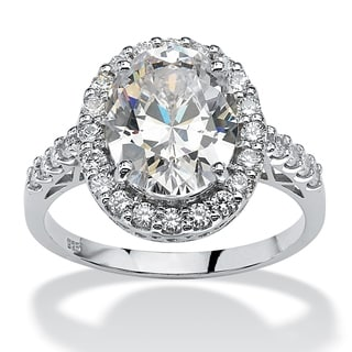 PalmBeach 4.44 TCW Oval Cut Cubic Zirconia Platinum over Sterling Silver Halo Ring Glam CZ