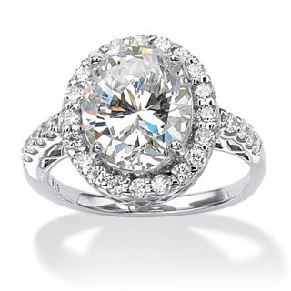 Ultimate CZ Platinum over Silver Oval-cut Cubic Zirconia Ring