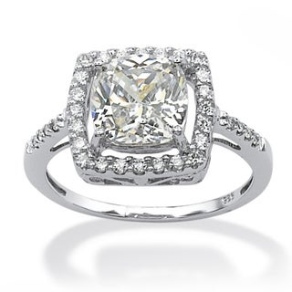 PalmBeach 2.02 TCW Cushion Princess-Cut Cubic Zirconia Platinum over Sterling Silver Halo Ring Glam CZ