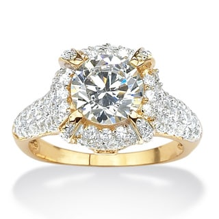 PalmBeach CZ Gold over Silver 3ct TGW Cubic Zirconia Ring Glam CZ