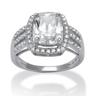 Ultimate CZ Platinum over Silver Emerald-cut Prong-set Cubic Zirconia Ring