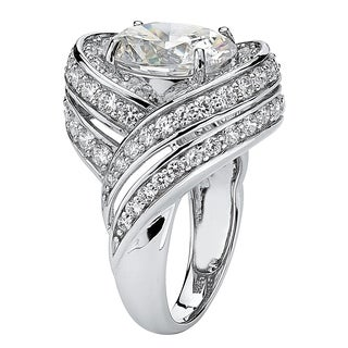 PalmBeach 7.19 TCW Oval Cut Cubic Zirconia Swirl Cocktail Ring in Platinum over Sterling Silver Glam CZ