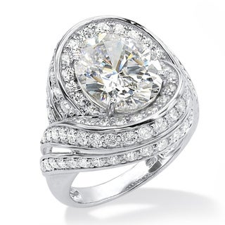 Ultimate CZ Platinum over Silver White Oval-cut Cubic Zirconia Ring