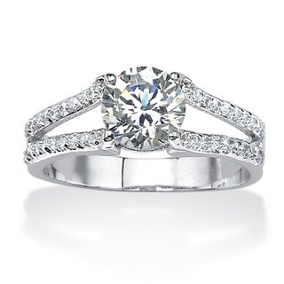 PalmBeach CZ Platinum over Silver White Prong-set Cubic Zirconia Ring Classic CZ