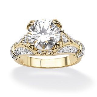Ultimate CZ Gold over Silver Round Cubic Zirconia Ring