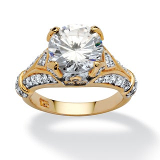 PalmBeach 4.66 TCW Round Cubic Zirconia 18k Gold over Sterling Silver Engagement Anniversary Ring Glam CZ