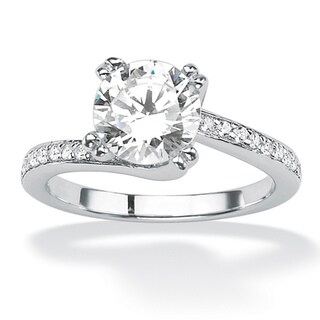 Ultimate CZ Platinum over Silver Round Cubic Zirconia Swirl Ring