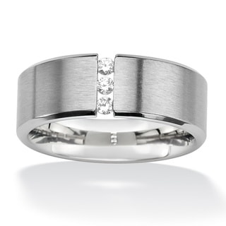 PalmBeach CZ Stainless Steel Cubic Zirconia Wedding Band Men's