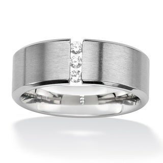 PalmBeach .18 TCW Round Cubic Zirconia Brushed Stainless Steel Wedding Band Sizes 7-16 Classic CZ