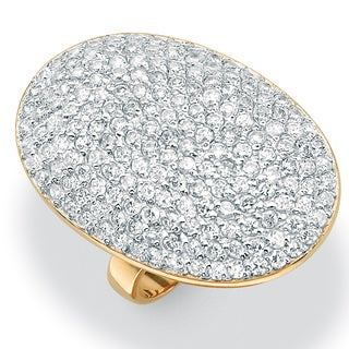 PalmBeach 3.57 TCW Round Pave Cubic Zirconia 14k Yellow Gold-Plated Ring Glam CZ