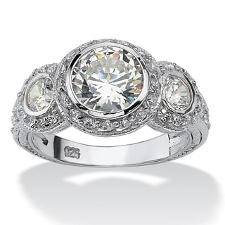 PalmBeach 3.10 TCW Round Cubic Zirconia Sterling Silver Anniversary Ring Glam CZ