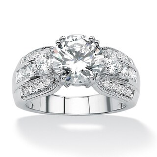PalmBeach CZ Platinum over Silver Round Cubic Zirconia Ring Glam CZ