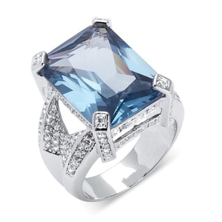 PalmBeach Blue/ White Cubic Zirconia Ring Color Fun