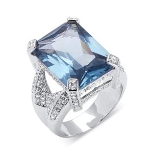PalmBeach 27.30 TCW Emerald-Cut Blue Cubic Zirconia Silvertone Cocktail Ring Color Fun