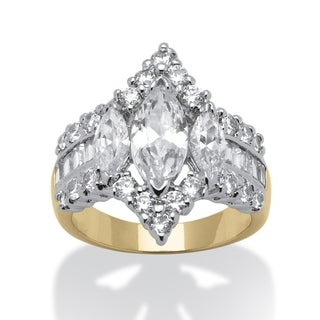 PalmBeach 4.91 TCW Marquise-Cut Cubic Zirconia 14k Yellow Gold-Plated Engagement Anniversary Ring Glam CZ