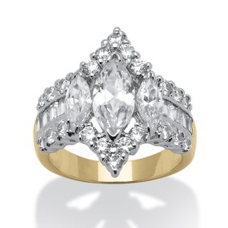 PalmBeach CZ Gold Overlay White Marquise-cut Cubic Zirconia Ring Glam CZ