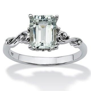 PalmBeach Emerald Cut Genuine Aquamarine Platinum over Sterling Silver Ring