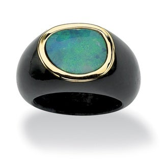 Angelina D'Andrea Blue Opal and Black Jade Ring
