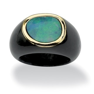 PalmBeach Blue Opal and Black Jade Ring Naturalist