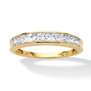 PalmBeach .81 TCW Princess-Cut Cubic Zirconia 10k Yellow Gold Channel-Set Anniversary Ring Wedding Band Classic CZ