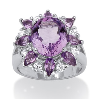 PalmBeach Sterling Silver Amethyst and White Topaz Ring